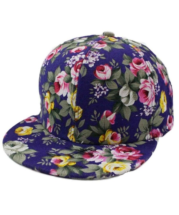 WILLTOO Rose Flower Hip-Hop Baseball Cap Flat Snapback Hat - Blue - CF12HQHO2YV