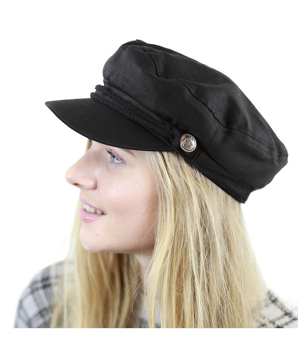 THE HAT DEPOT Black Horn Unisex Cotton Greek Fisherman's Sailor Fiddler Hat Cap - Black - C5187LRXRZK