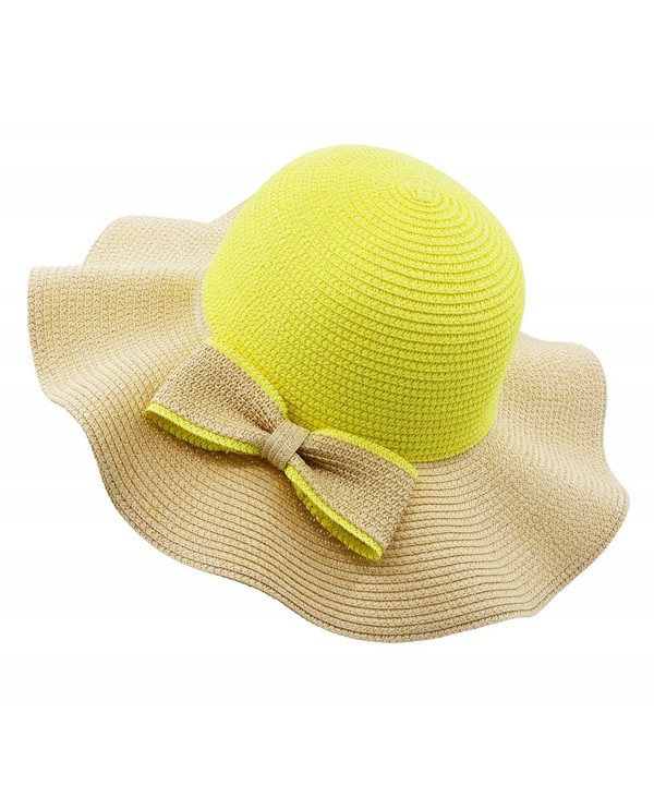 Vegali Summer Beach Sun Hat - Yellow - CF12KHOQBLH