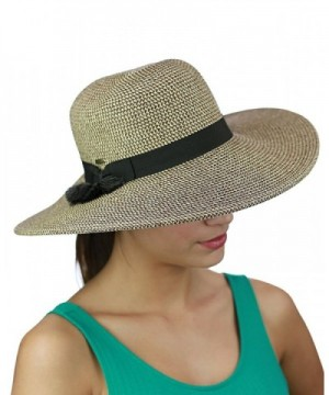 C.C Women's Solid Color Band with Tassel Summer Beach Floppy Brim Sun Hat - Brown Combo - CZ17YU8U2D7