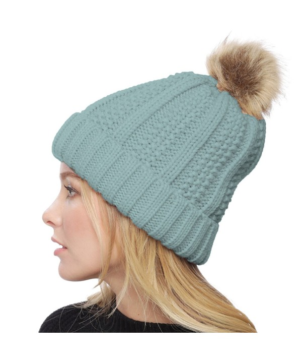 APPARELISM Women's Winter Thick Knitted Plush Lining Pom Pom Beanie Hat. - Light Blue - C3186X7OWG4