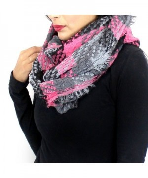 Soft Woven Plaid Infinity Scarf - Pink and Grey - CN127YK8G2J