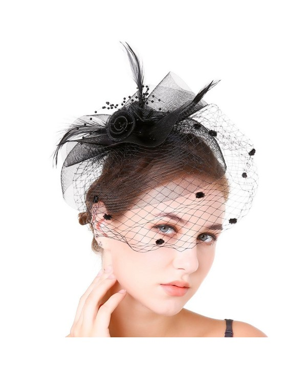 Fascinaor Hair Clip Feather Veil Wedding Party Hat - Balck - CT1867SUXKY