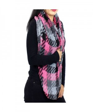 Basketweave Fringed Infinity Scarf Pink in Cold Weather Scarves & Wraps