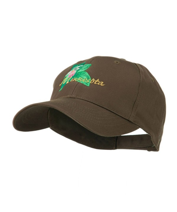 USA State Flower Minnesota Embroidery Cap - Brown - CC11FITO3WL