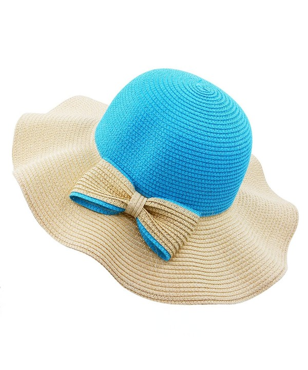 Vegali Summer Beach Sun Hat - Blue - C112KHOQB49