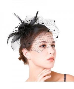 Fascinaor Feather Wedding Party Balck in  Women's Headbands in  Women's Hats & Caps
