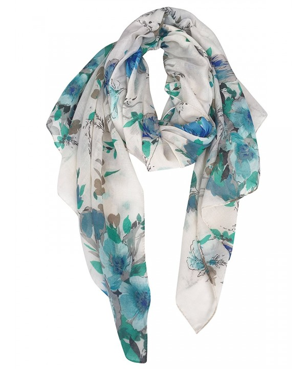 GERINLY Lightweight Shawl Scarf: Peony Print Beach Wrap For Hawaiian Vacation - Blue+turquoise - CQ17YH5S6IH