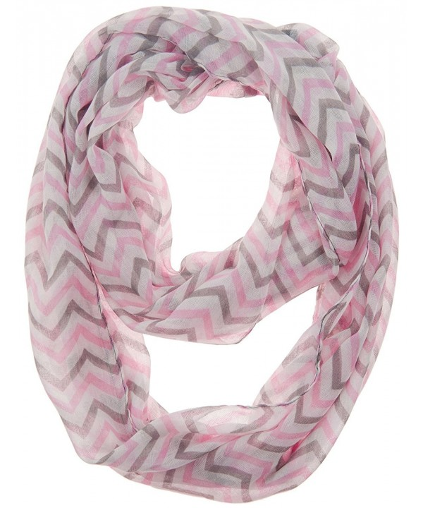 WearWide Womens Soft Chevron Design Fashion Loop Infinity Scarf for Holiday Gift - Pink/Grey/White - CH11SO7B8CH