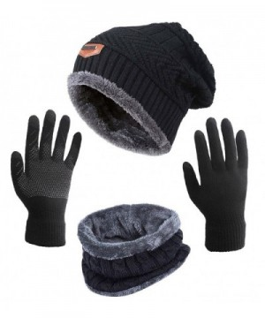 HindaWi Winter Slouchy Beanie Gloves For Women Knit Hats Skull Caps Touch Screen - _Hat+scarf+gloves (Black) - CC18993RKY0