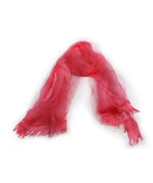 Scarf With Double Layers - OKEER Unisex Solid Color Silk Cotton Fabric Scarves Wraps - Red - C41840LGURU