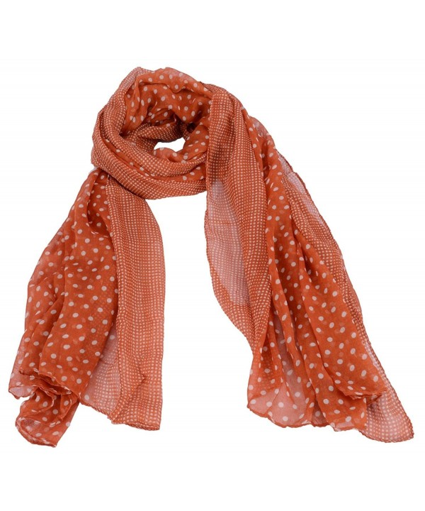 AshopZ Women's Summer Soft Lightweight Voile Polka Dot Scarf - Orange - CP12BCT02I9