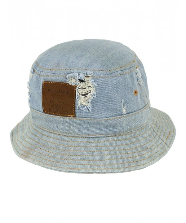 7d35ad50773204 Dahlia Summer Sun Hat - Casual Distressed Denim Bucket Hat - Light Blue -  CB11ZR0XYOJ