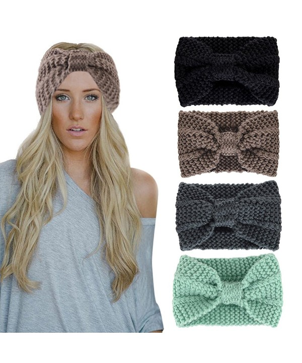 Misscat Women Girls Knit Crochet Bow Headband Head Wrap Hat Ear Warmer - Khaki - CJ12O0P6XMY
