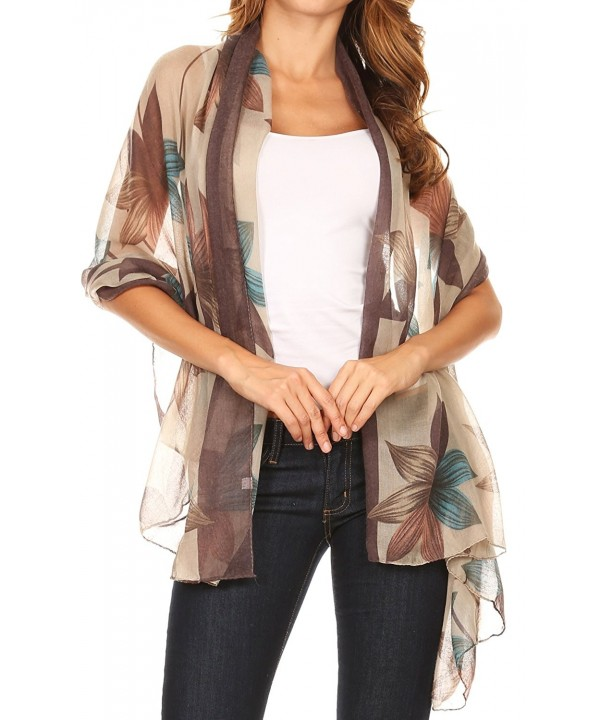 Sakkas Nichole summer gauze featherweight patterned versitile sheer scarf wrap - 7-black / Blue - CF17Y4UNAXK