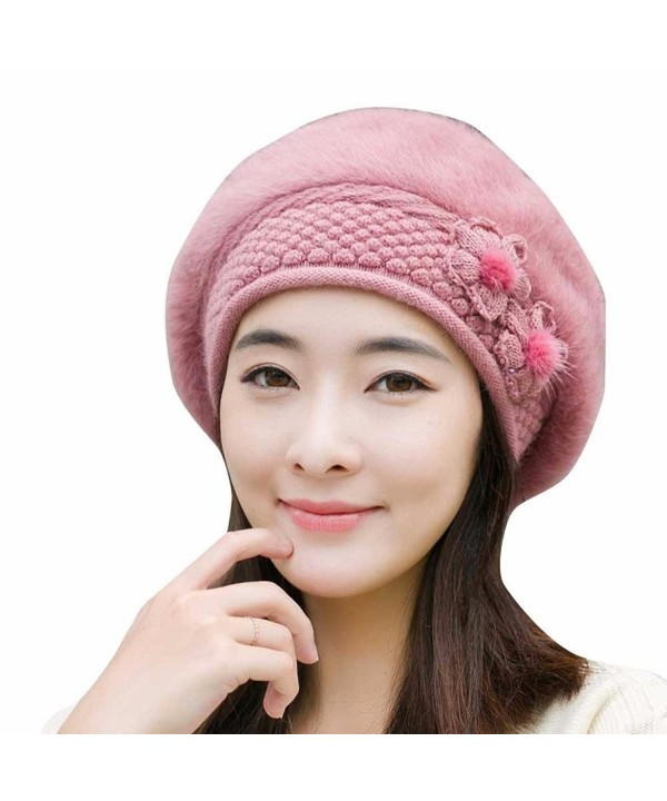 Hunputa WomensWinter French Beret Wool Beret Chic Beanie Winter Hat Slouchy Cable Knit Hat Snow Ski Caps - Pink - C01895K586O