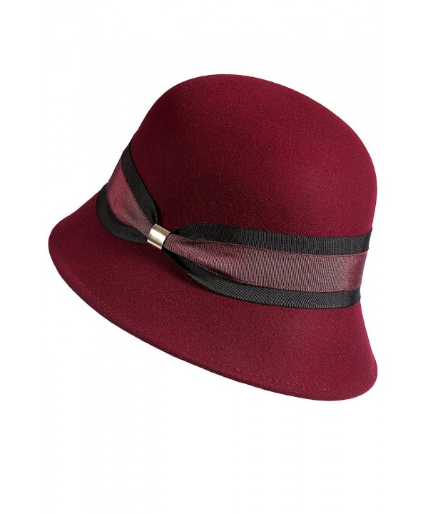 Overland Sheepskin Co Women's Classic Wool Felt Cloche Hat - Wine - C5186TQO6EA