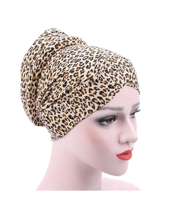DEESEE Women Muslim Stretch Turban Hat Chemo Cap Hair Loss Head Scarf Wrap Hijib Cap - E - C418546CG8O