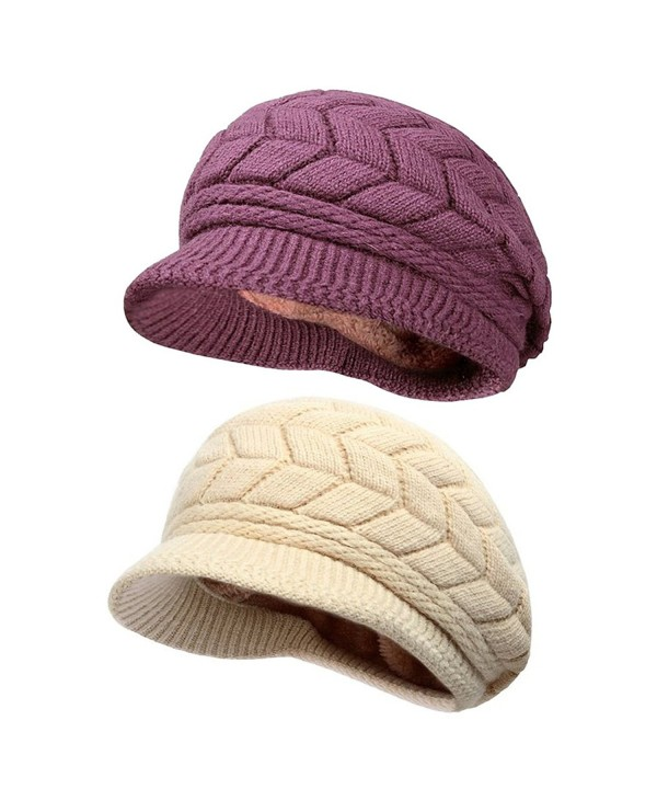 Women Lady Braided Warm Cabled Knit Winter Beanie Crochet Hats Newsboy Caps 2-pack (Purple+Beige) - CB129B3VWOB
