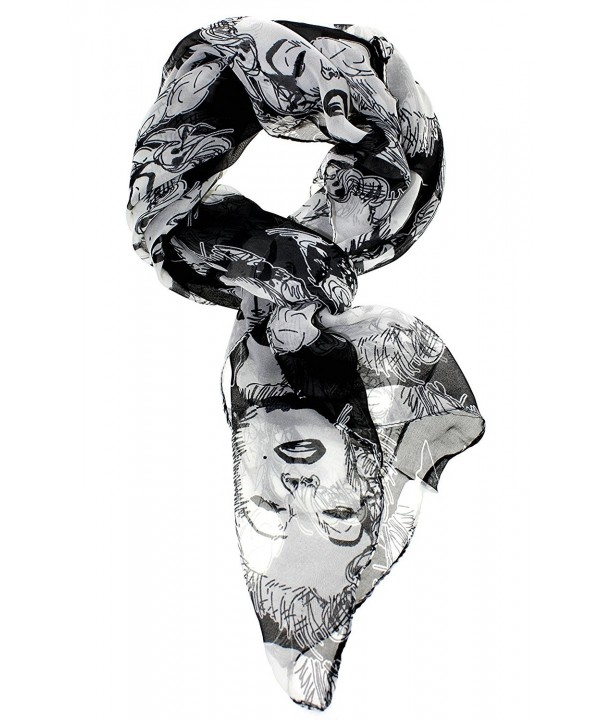 Women Lady Chiffon Marilyn Monroe Heads Print Scarf Shawl Wrap Long Stole Gift - Black - CJ11N9VYBA3