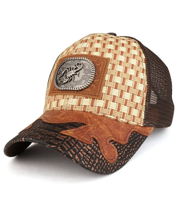 Trendy Apparel Shop Straw Design Metallic Scorpion Logo Trucker Mesh Adjustable Baseball Cap - Tan/Brown - C712O36I0WD