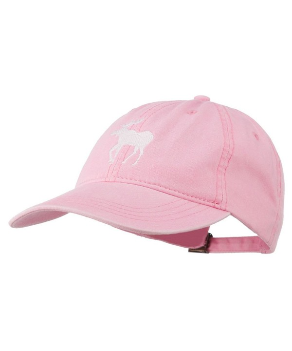 American Moose Embroidered Washed Cap - Pink - C111QLM6CDH