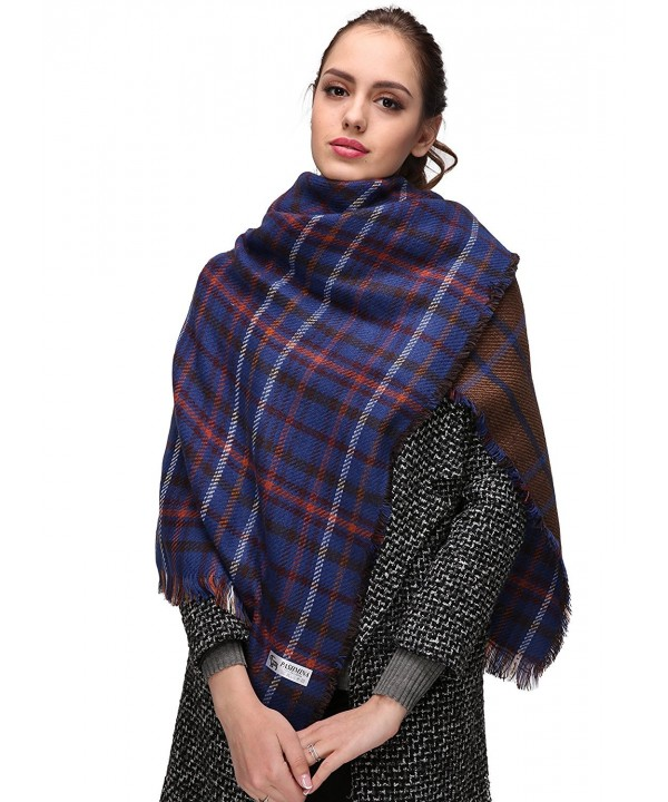 Women's Plaid Blanket Winter Scarf Warm Cozy Tartan Wrap Oversized Shawl Cape - Blue-c012 - C4186GSXCHM