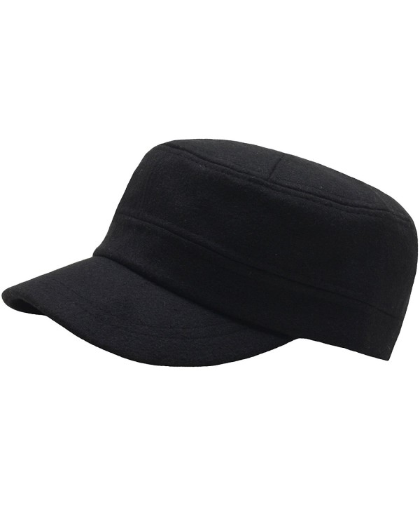 RaOn A108 New Fashion Wool Winter Warm Simple Design Club Army Cap Cadet Military Hat - Black - CQ126N3HKE3
