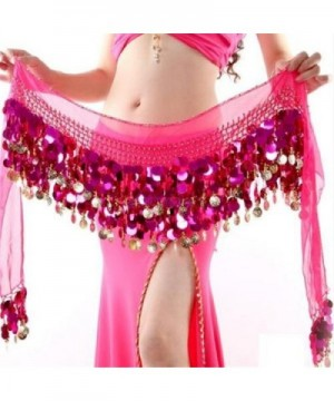 ZYZF Gold Coin Belly Dance Hip Scarf Skirt Wrap Dancing Costume Sequin Waistband - Hot Pink - CP12G17XLPX