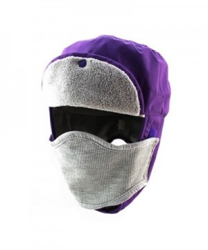 YOYEAH Trapper Hat With Ear Flaps Nylon Windproof Winter Warm For Skiing Snow Cap Men Women - Purple - C1186R6ARSC