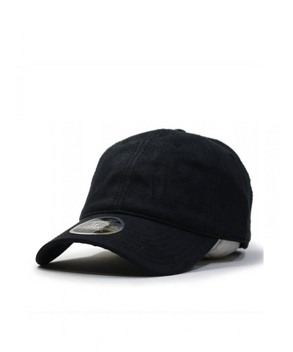 Heavy Washed Wax Coated Adjustable Low Profile Baseball Cap - Black/Without Buckram - CE12O1UXDNZ