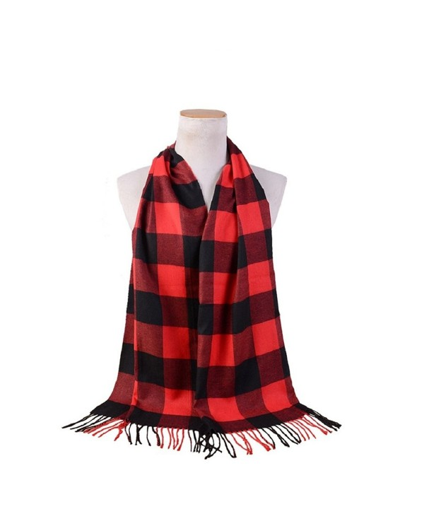 "Women Warm Imitation Cashmere Plaid Checkered Scarf (Black&Red-170x38CM/66.92x14.96"") - C81285TEPD7"