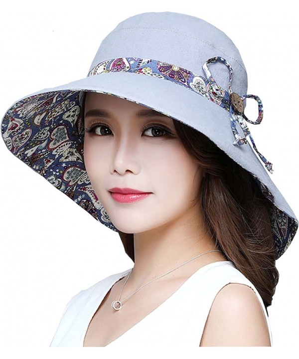 Ls Lady Womens Summer Flap Cover Cap Cotton Anti-UV UPF 50+ Sun Shade Hat With Bow. Adjustable Hat - Z Grey - CD182MIAI8A