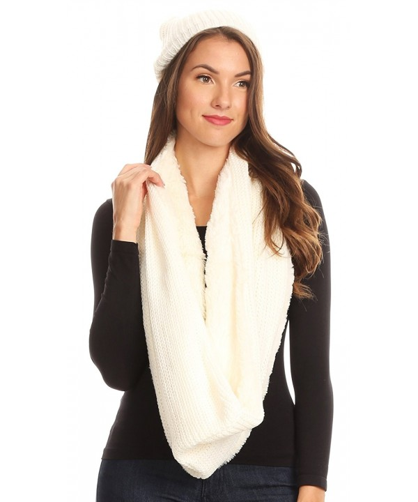 Sakkas Balencia Cool Girl Long Wide Soft Fur Lined Infinity Scarf Beanie Hat Set - White - CB182WX98UR