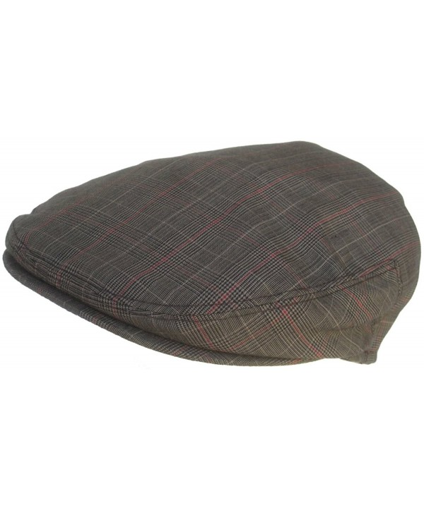 Summer Plaid Ivy Scally Driver Cap Polyester Flat Hat - Black - CC11VYXNXYT