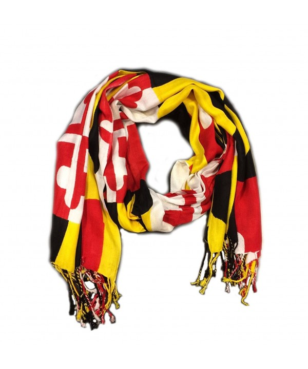 Maryland Flag Pashmina Scarf Shawl with University of Maryland Colors - C912O4PBIE6