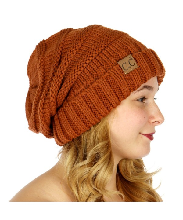 C.C Serenita Simple Oversized Slouchy Knit Winter Beanie Hat - Rust - CL1868ZCEQH