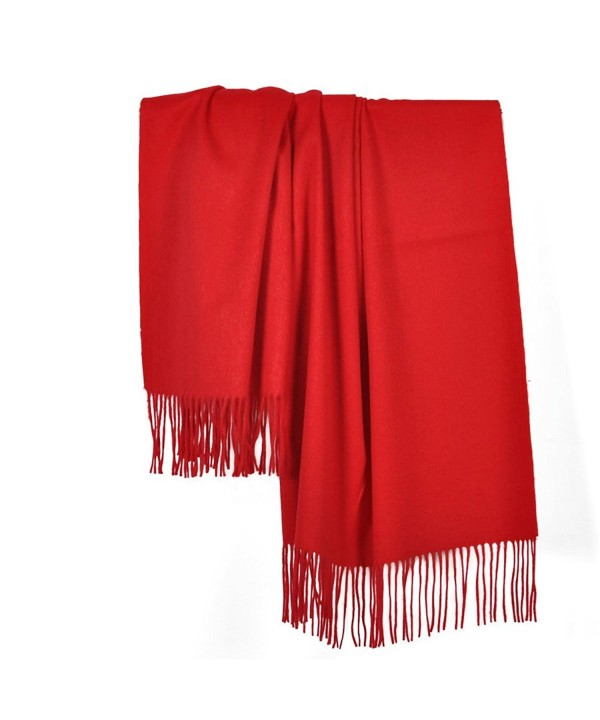 "Sherry007 Women's Extra Large 78""x27"" Cashmere Wool Blend Tassels Winter Blanket Scarf Shawl Wrap - Red - C912KHFOD4N"