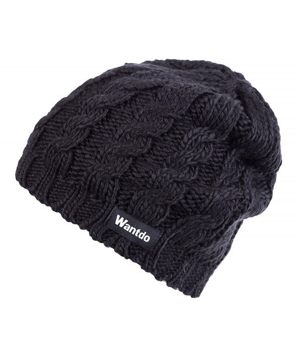 Wantdo Women's Knitted Soft Chunky Beanie Cap - Black - C8184YLAD5N