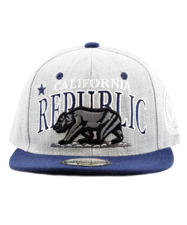 "The Hat Depot 1300A New ""Republic California"" Soft Heather Grey Snapback Cap - Navy - CI12E06HCYN"