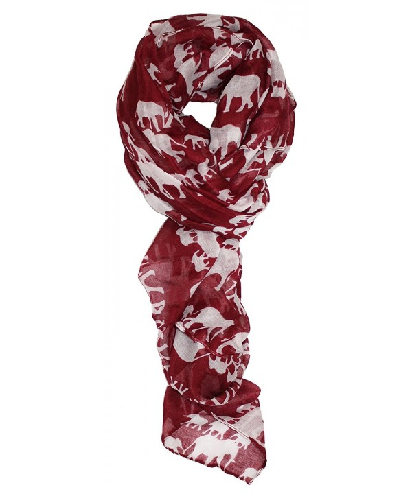 Ted and Jack - Walking with Elephants Silhouette Print Scarf - Burgundy - C4121L9XQB5