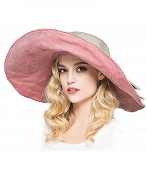 Packable Reversible Large Brim Floppy Sun Hat UPF 50 Sun Protection Travel Beach Hat - Pink-C - C0182ETUQA6