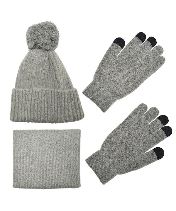 Knit Scarf/Hat/Gloves Set- Soft Warm Beanie- Touch Screen Unisex Cable Knit Winter Cold Weather Gift - Gray - C61893M2EXH