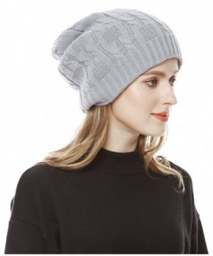 Unisex Slouchy Cable Knit Beanie Cap Oversized Thick Winter Beanie Hat - Gray - C9186R6Q28K