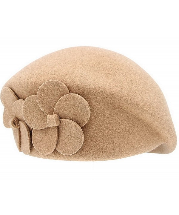 ACVIP Womens Wool Berets Stewardess Cap Pillbox Hat - Kahki&Flower Accent - CF125QCQ1WJ