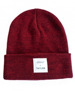 Grant and Taylor Men's Cuff Beanie Knit Cap Hat- Unisex- 100% Soft Acrylic - Burgundy Heather - CA182553Q4Z