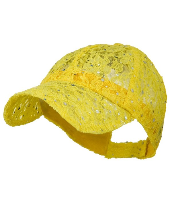 Lace Sequin Glitter Cap - Yellow W41S52F - CD110A3TS15