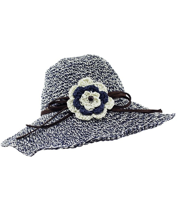 Funky Junque's UPF 50+ Adjustable Floppy Woven Crochet Straw Sun Hat w/ Flower - Navy - CX12EPJO3MT