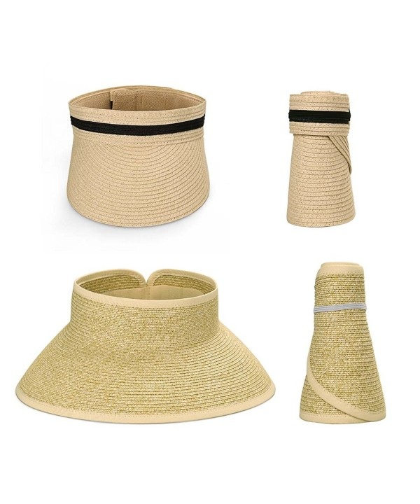 Bundle Monster BMC 2pc Roll Up Collapsible Wide Brim and Visor Style Straw Hats - Wicker + Beige - CF17XWRCK80