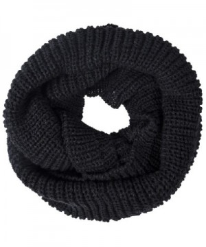Oryer 2 Pack Womens Winter Warm Thick Knit Infinity Scarf Circle Loop Cowl Scarf - Black - C4188209YL7